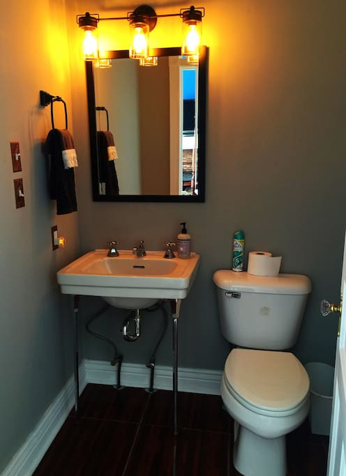 Completely renovated private bathroom with closet, antique sink & beautiful floor tile. 100% LED lighting.