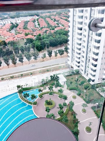 View from balcony overlooking swimming pool