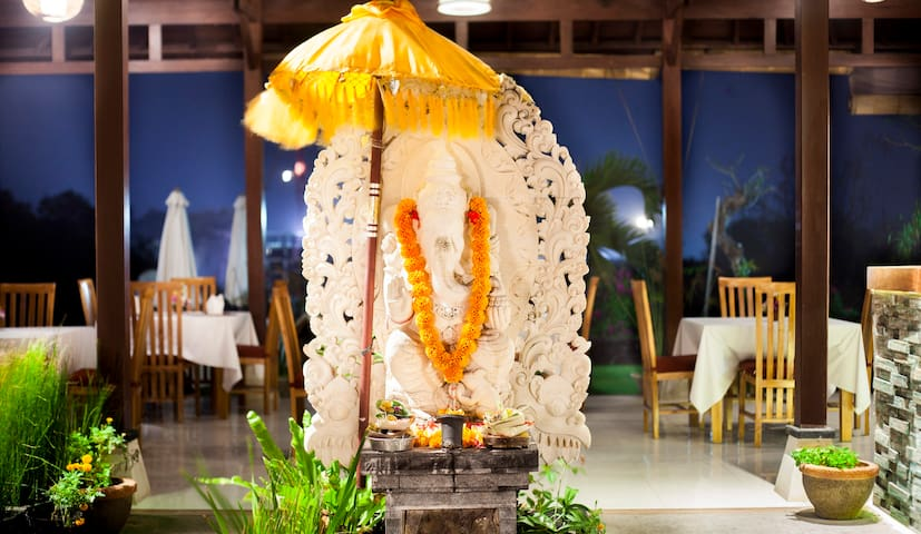This Ganesha statue is located in front of reception (lobby). Behind the statue is  the resto. The reception is located in the right side of the statue