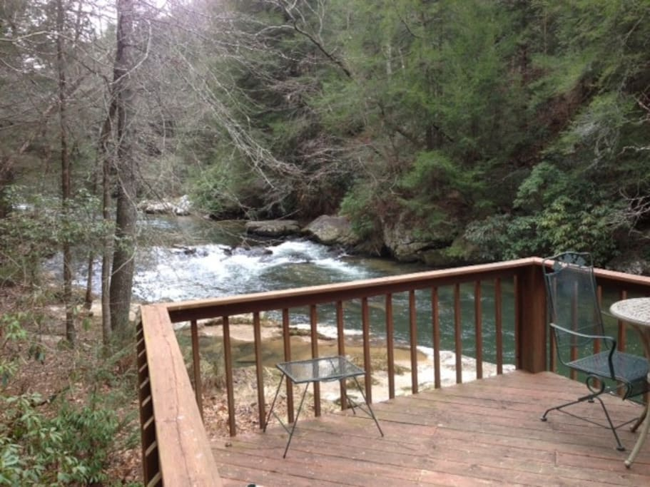 Deck on the Cartecay River.  There are 40 steps down to the river deck.