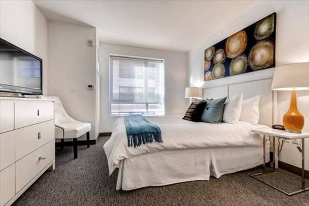 Private bedroom with queen size bed and large closet