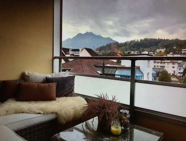 Downtown spacious apartment overlooking mountains