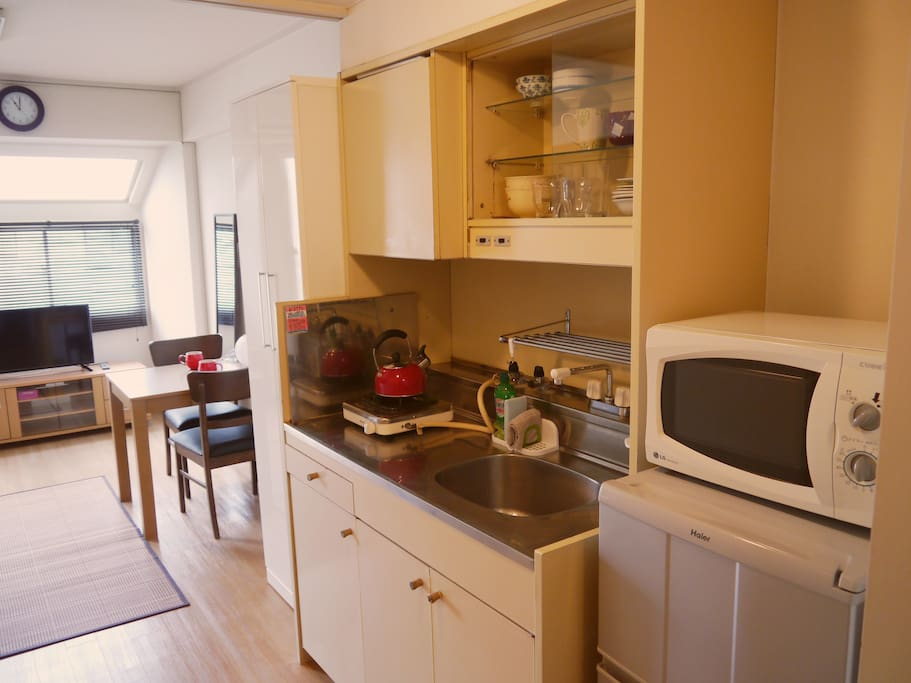 A very small kitchen has one gas cooker ,electric one and refrigerator.