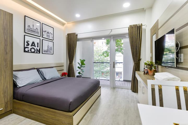 A cozy room w/balcony(#905)@Odys Apartment, D1