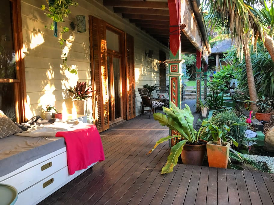 verandah in the late afternoon sun - facing west to capture the last rays of the day