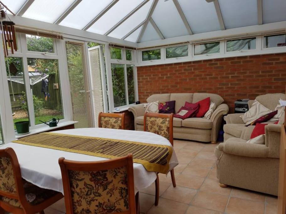 Extra seating and dining in the conservatory
