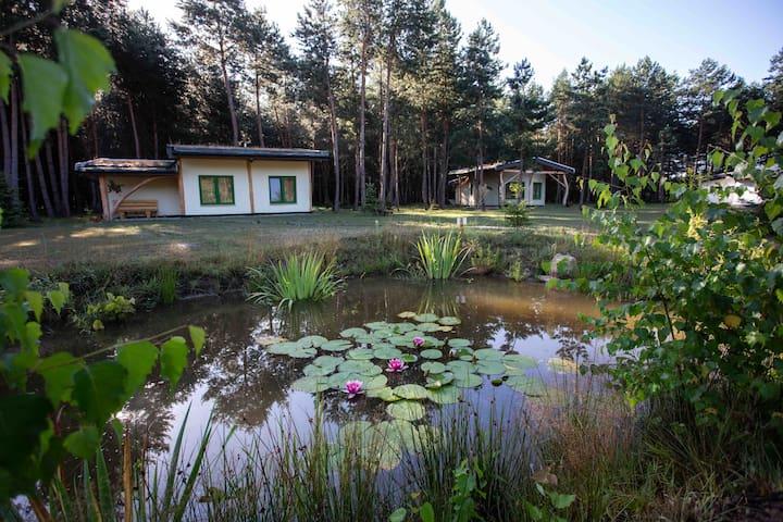 Domek ze słomy i gliny w lesie Podkarpacie