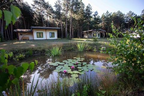 Domki z gliny i slomy w lesie na Podkarpaciu