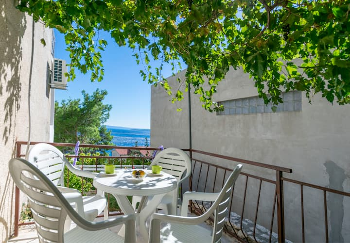 Studio Apartment, seaside in Brela, Balcony