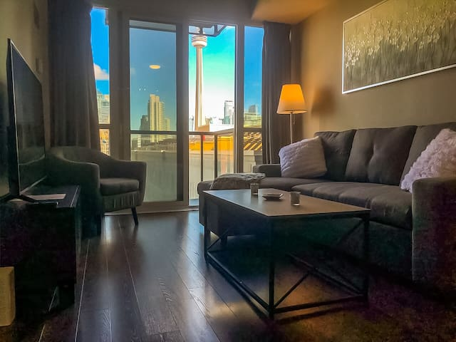 Stunning CN Tower Views From The Spacious Living Room with Balcony