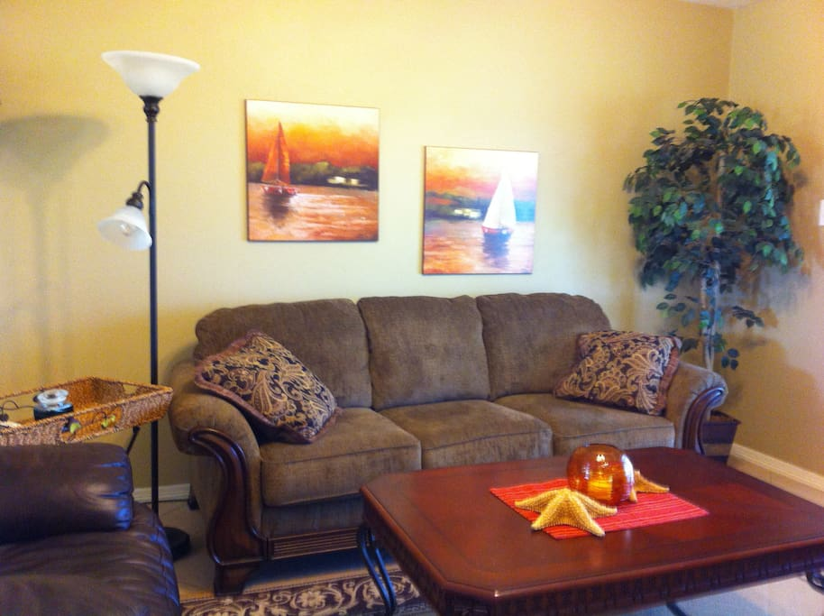 Living area with comfortable furniture, flat screen tv with cable hook up