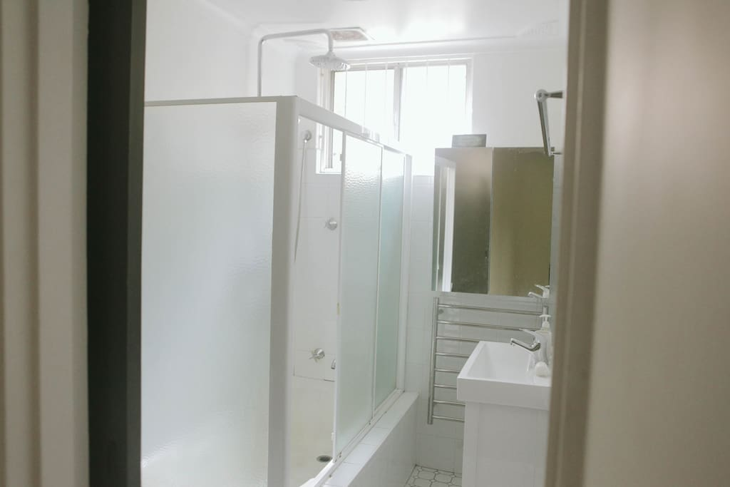 Bathroom, showers are in the bath. A tall shower & there is a hand held shower, heated towel rack, mirrored vanity & sink. The toilet is to the left of shower screen. The bath is not very high, but you do have to climb in  to use the shower.