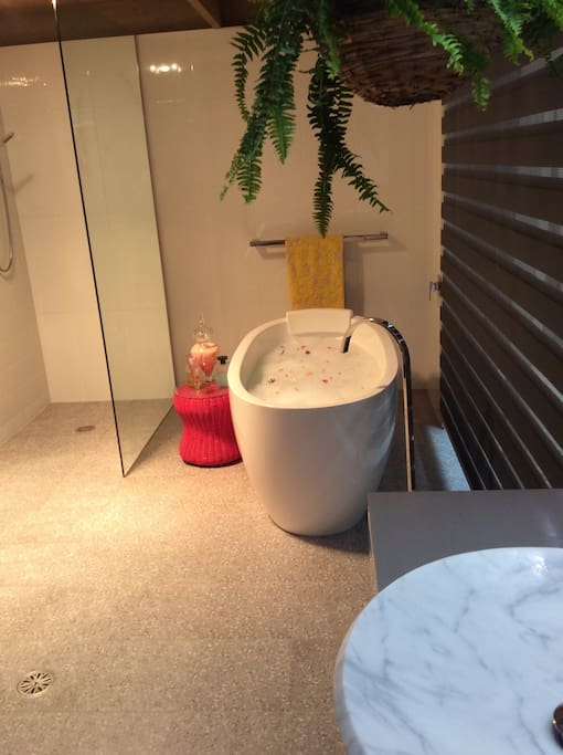 Spacious brand new bathroom with deep bath tub - great for relaxation