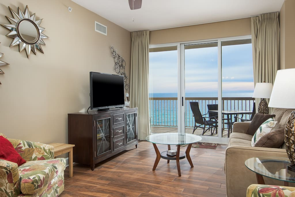Extravagant views of the gulf from the living room at Sunrise Beach 1103