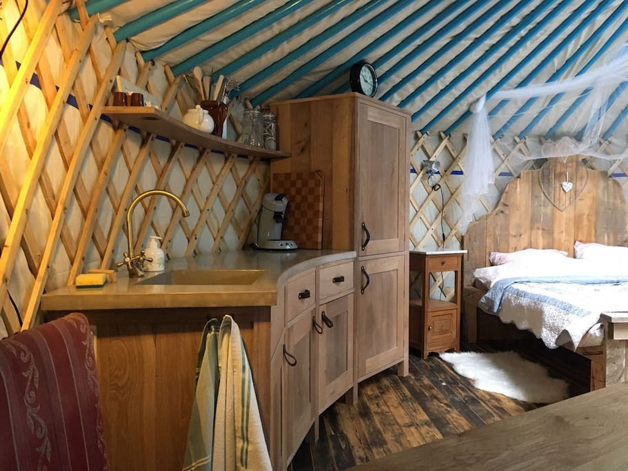 A tent with a kitchen