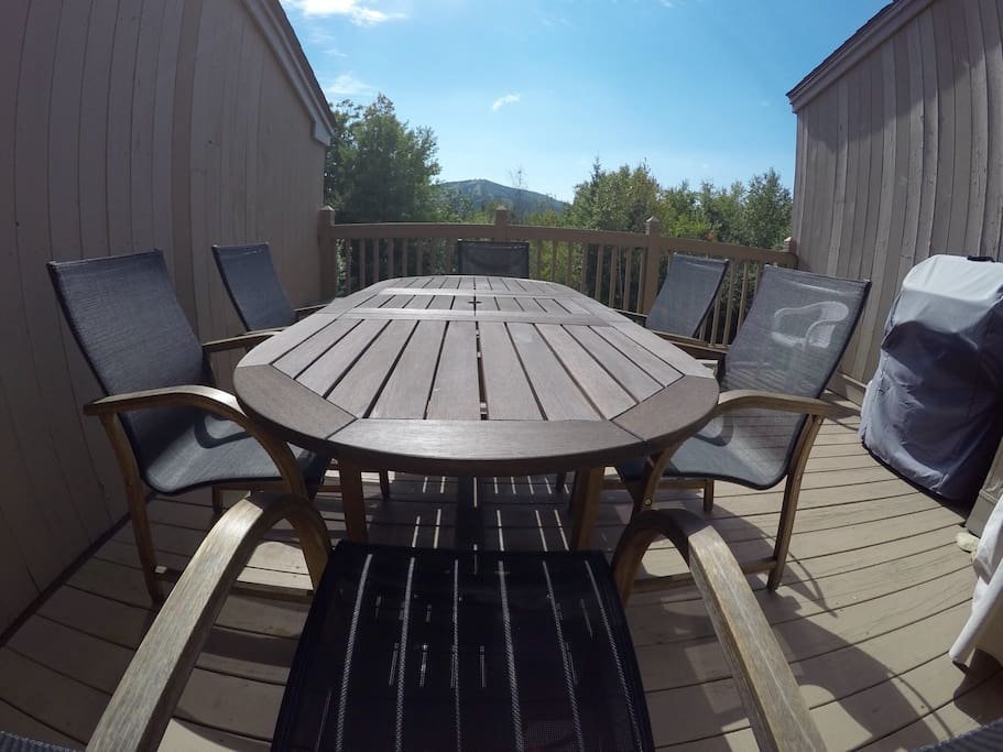 summer view of Mount Snow from our deck