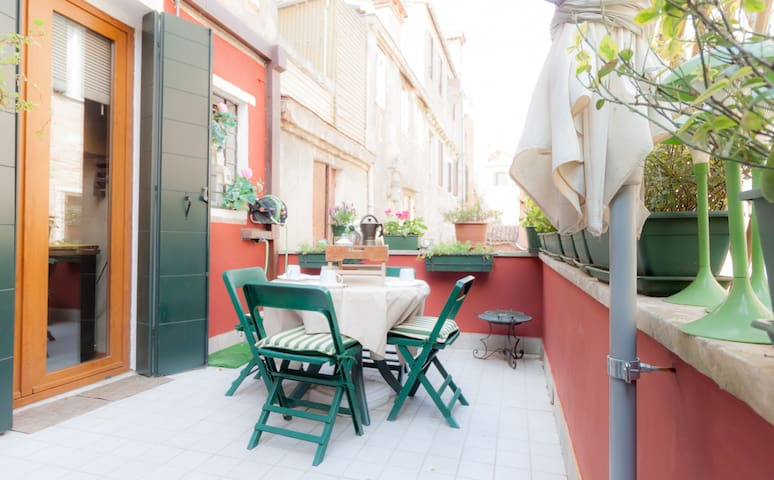 WONDERFUL TERRACE IN OLD TYPICAL BUILDING