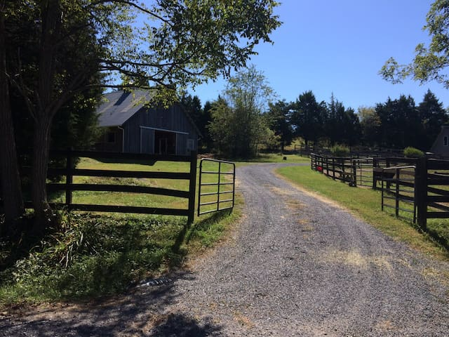 One of two driveway entrances to the farm. Gates can stay open unless requested otherwise.