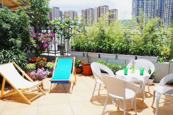 Garden terrace level1/ Room chic, vert, petite - Kunming - Appartement