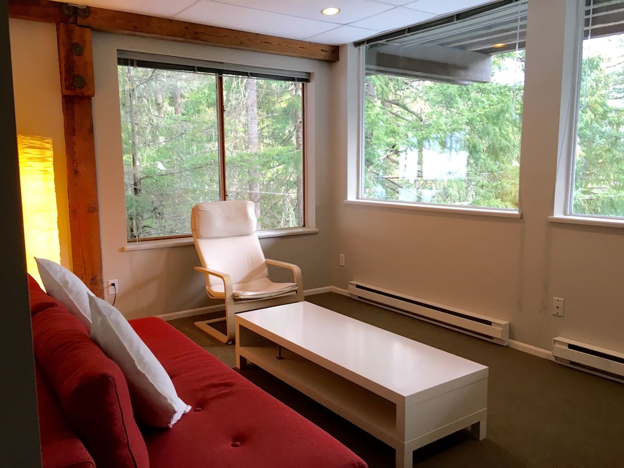 The living room has a sofa bed and looks out onto the beautiful west coast forest.