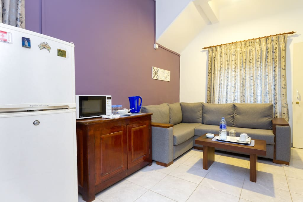 Tv and lounge area(includes a Refrigerator and Microwave)