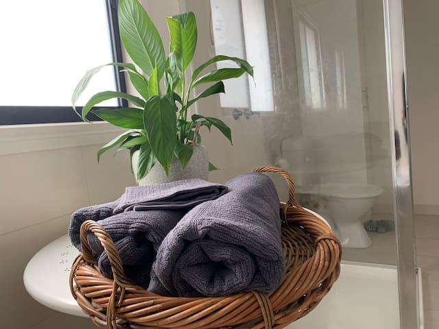 Fluffy Egyptian cotton towels provided