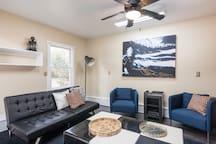 Living room with folding sleeper futon
