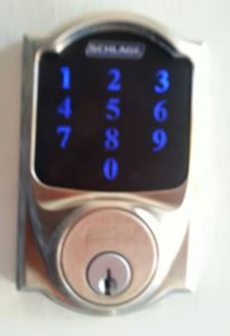 State of the art keyless security lock, which host can change or open remotely.  Each registered guest will have their own easy to remember entry code which will be provided day of check-in.