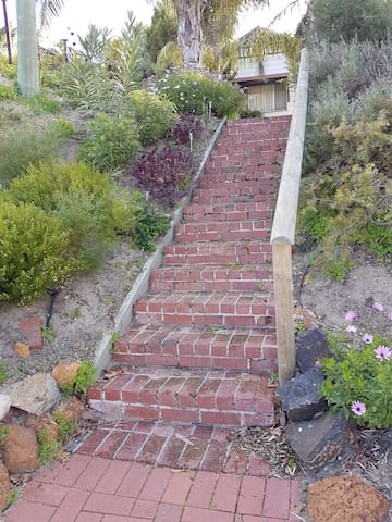 Stone steps at the front of the property