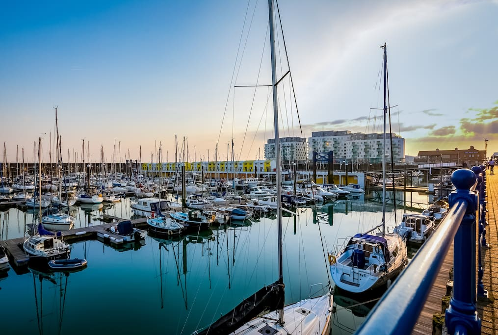 Brighton Marina at sunset, with the Rethink Living apartments in the background