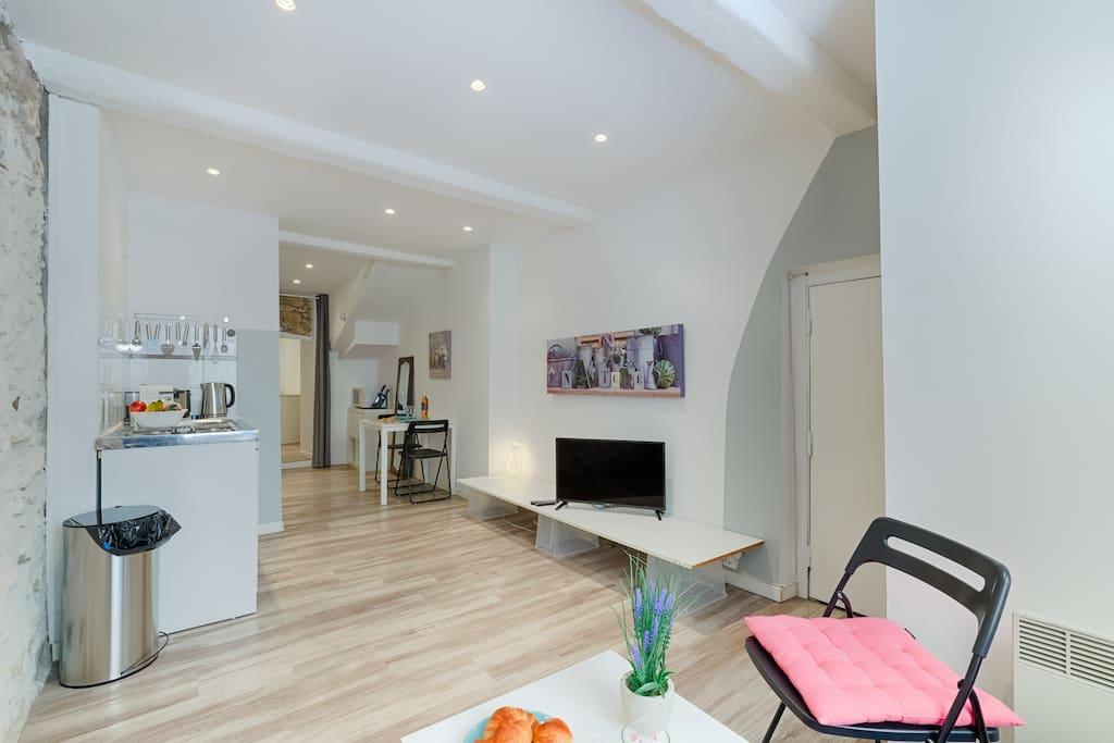 Mon spacieux séjour avec cuisine ouverte toute équipée  / My bright living room with the open kitchen fully equipped