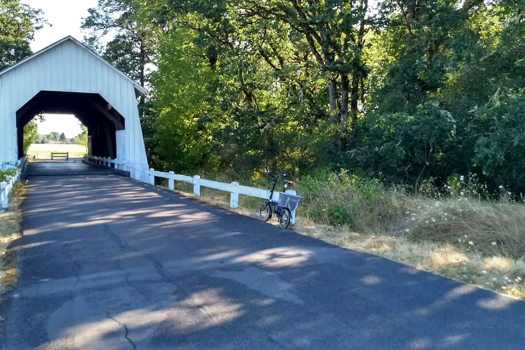 Easy biking to downtown on the Campus bike path, which has this awesome, old, covered bridge on it.