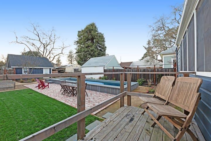 Dog-friendly home w/ private lap pool & enclosed backyard - walk downtown!