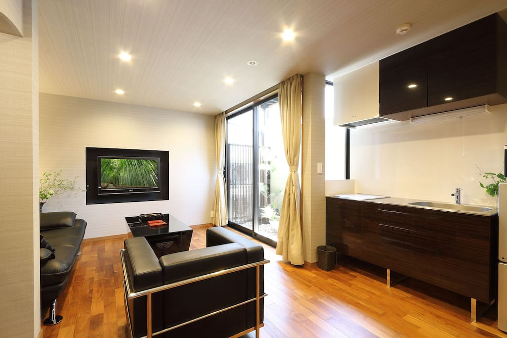 The first floor is modern and comfortable living room and kitchen.