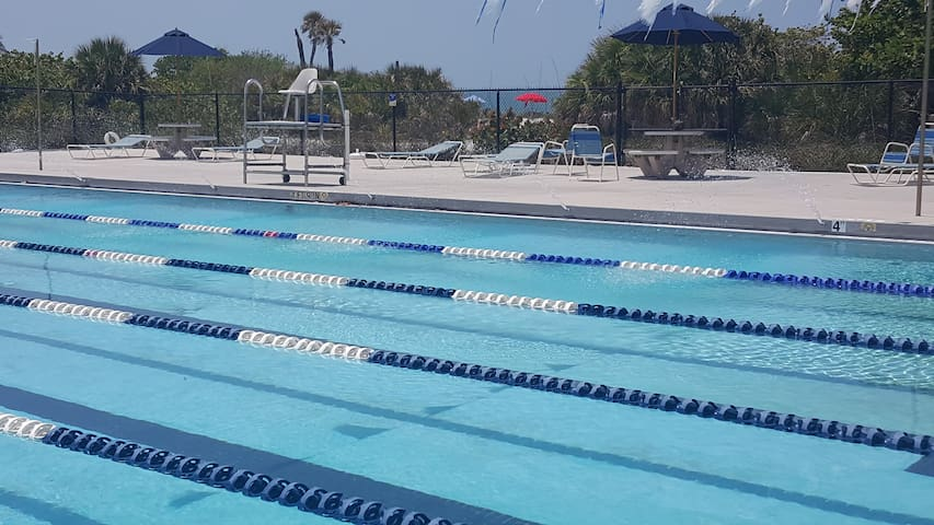 Public pool at the beach; $2 for kids $4 for adults