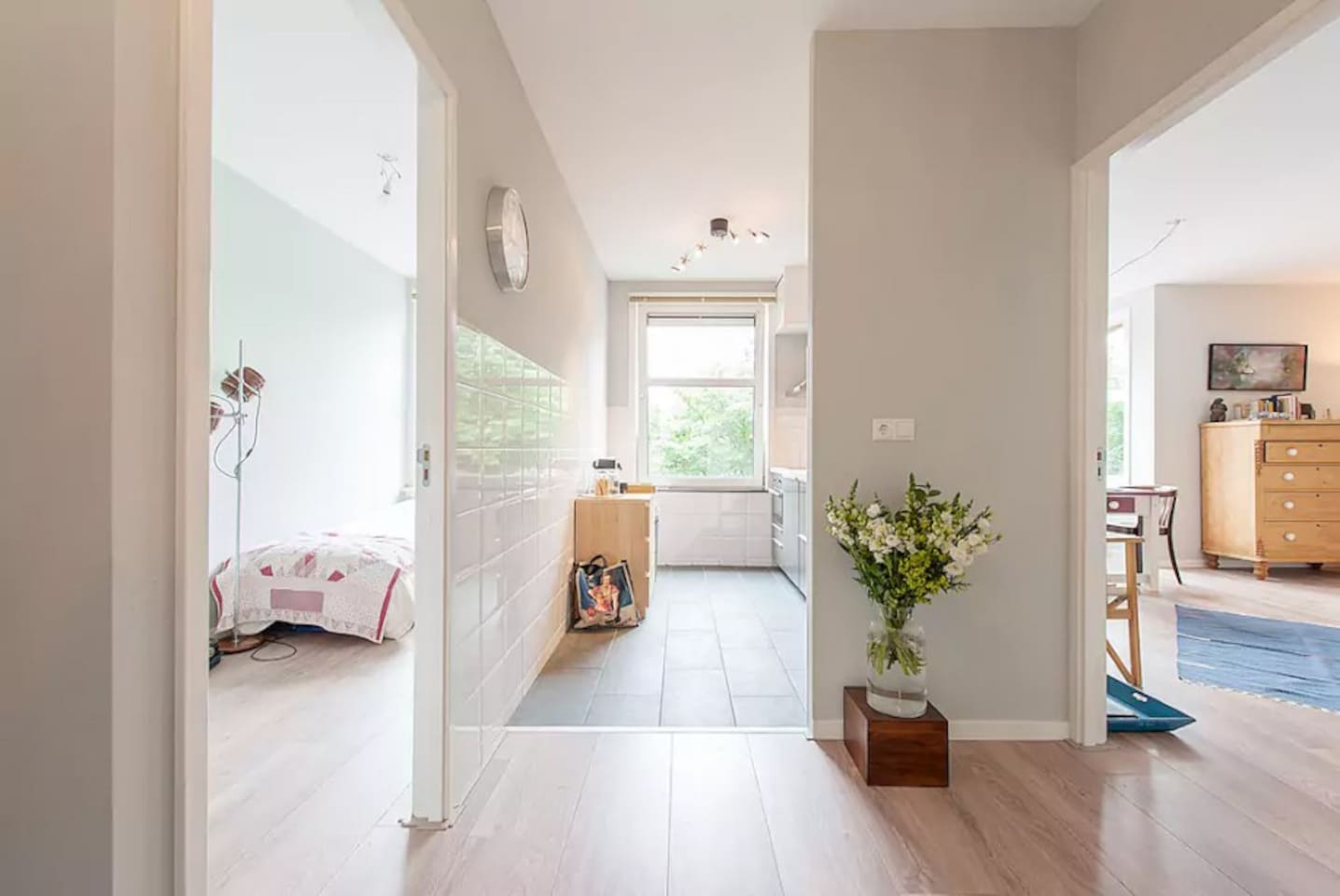 Bedroom, kitchen, living