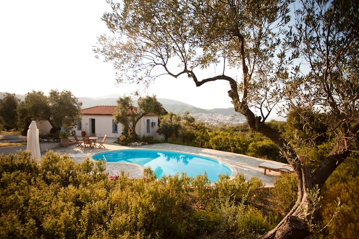 Gorgeous Elia Cottage - private pool and sea views