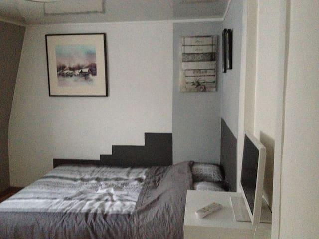 Chambre tout confort, très claire donnant sur jardin, vrai lit avec matelas et sommier neuf