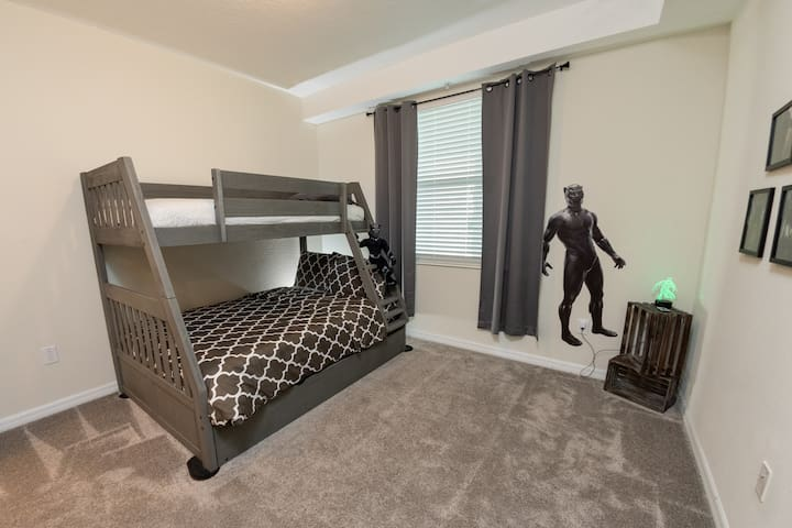 Bunk beds with a rollout under.