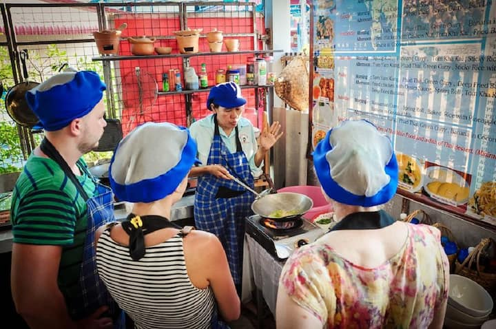Cooking in open kitchen