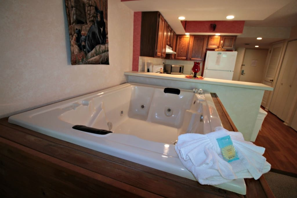 Enjoy an Evening after a Long Day in the Smoky Mountains in the Jacuzzi Tub for a Little Rest and Relaxation