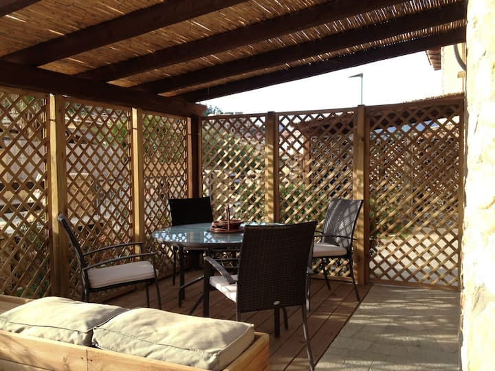 Accommodation with veranda and garden
