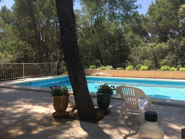 Gordes : villa piscine, pool house, cadre top vert