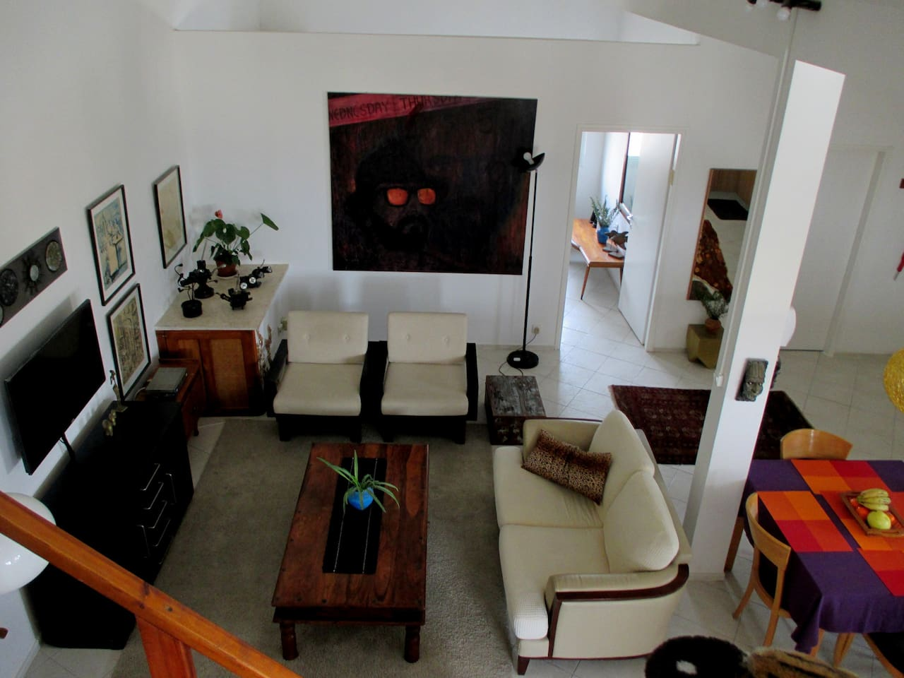 A general view from the gallery to the living area.