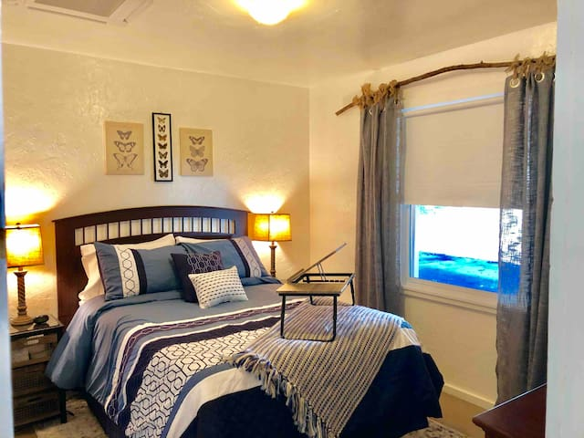 The Butterfly's Rest features a new full size bed. With memory foam topper. Mattress covers & sheets are bleached between stays. Other bedding is washed on highest heat setting with a laundry sanitizer.