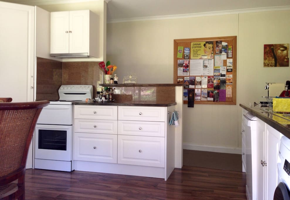 Well equipped kitchen with full oven, fridge/freezer, microwave, toaster, kettle etc.