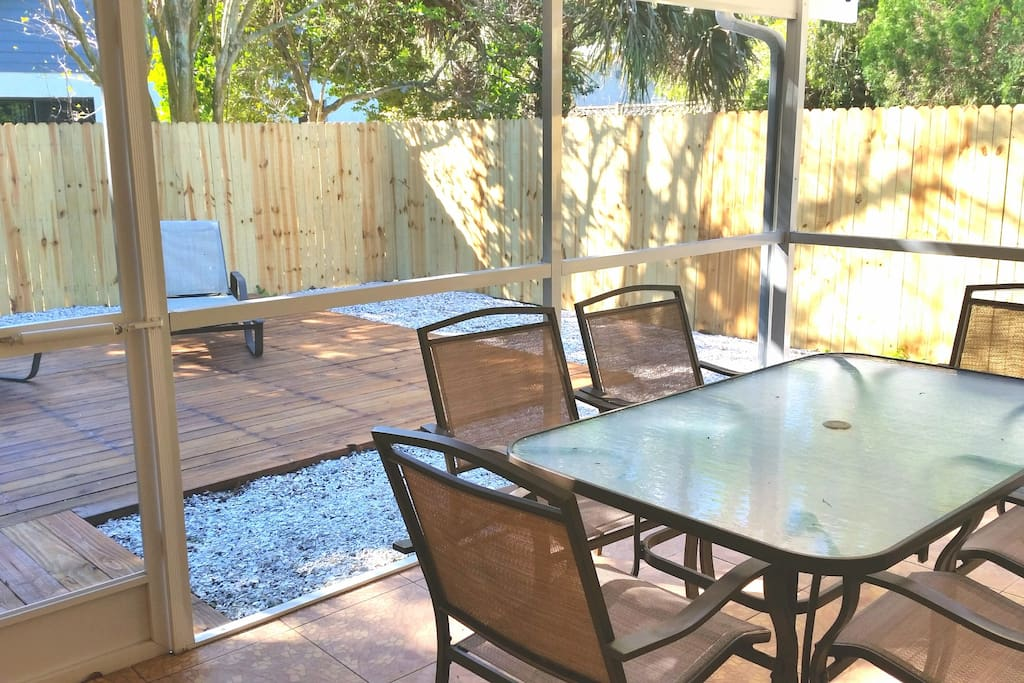Back patio and screened in lanai