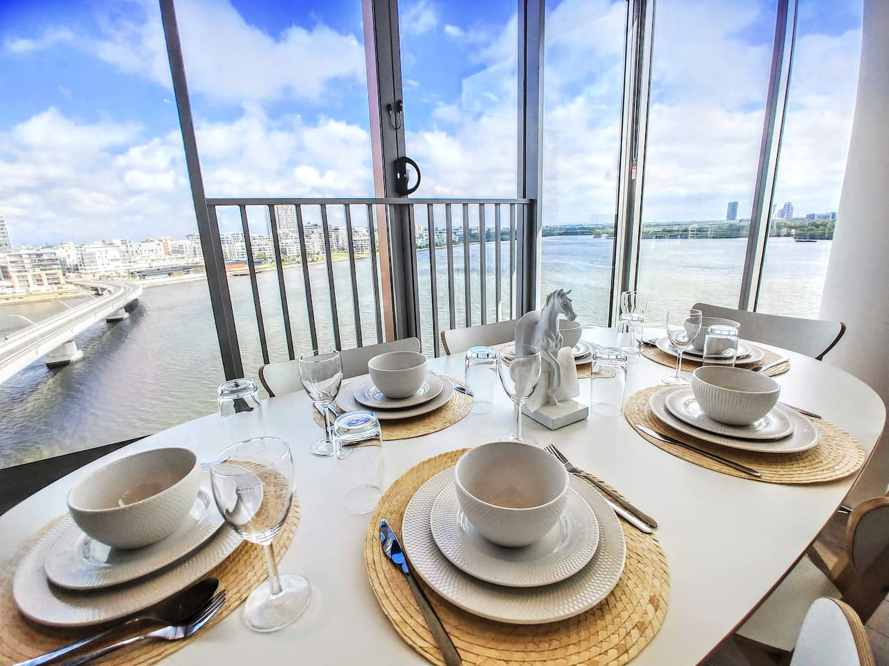 Dining area with spectacular city & water view