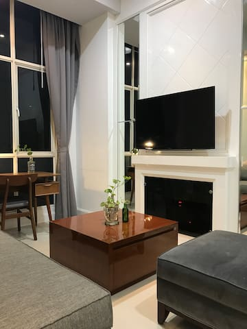 Spacious living room with beautiful city view