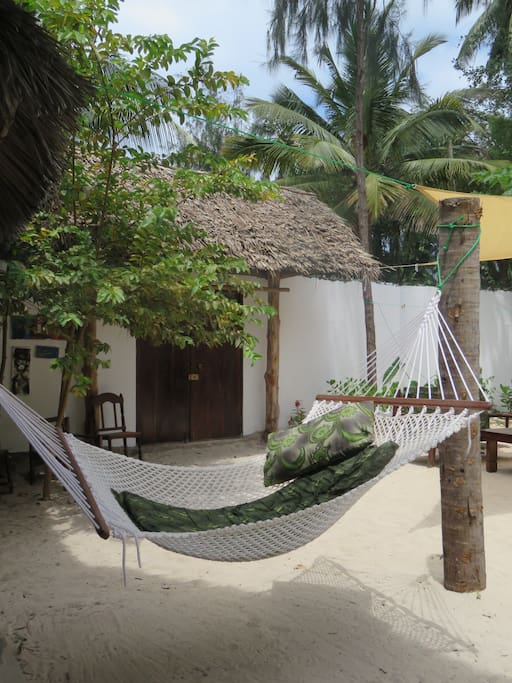 Chill in hammocks reading , resting onlooking up at the gorgeous sky and trees or stars at night